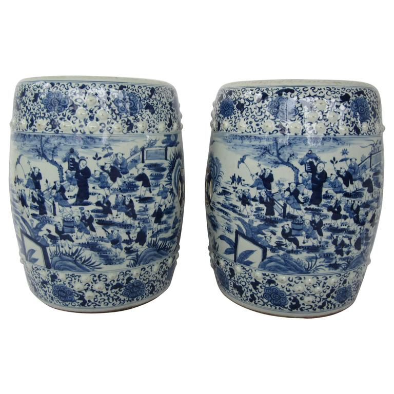 Pair of Chinese Blue and White Stools