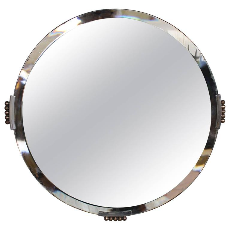 Fine French Art Deco Round Mirror with Chrome and Bronze Details