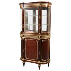 Late 19th Century Parquetry and Gilt Bronze Vitrine Cabinet by Paul Sormani