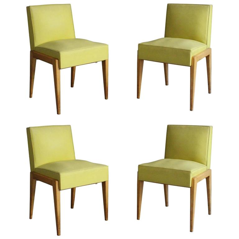 Set of Four French 1950s Sycamore Chairs by Verot et Clement