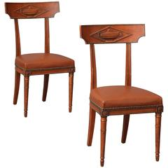 Maison Jansen Directoire Style Side Chairs in Terracotta Red