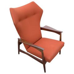 Ib Kofod Larsen by Carlo Garhn, Adjustable Danish Wingback Lounge Chair