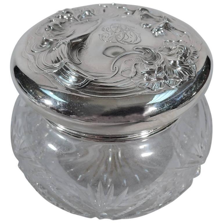 Unger Bros. Sterling Silver Powder Jar with Art Nouveau Siren