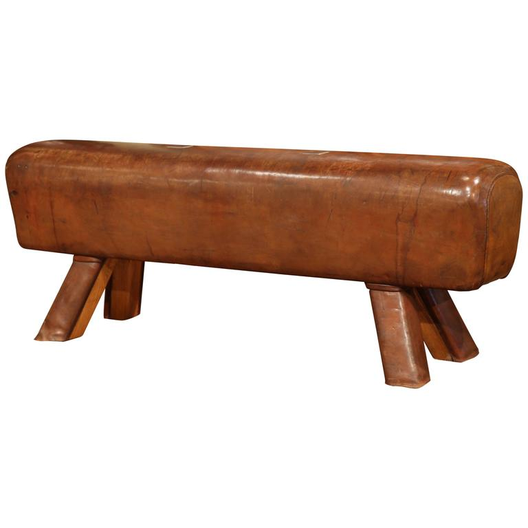 Early 20th Century Czech Pommel Horse Bench with Brown Leather from Prague 1