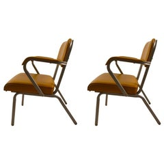 Pair of ECK Adams Steel and Vinyl Armchairs
