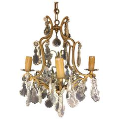 Late 19th Early-20th Century French Crystal and Bronze Chandelier