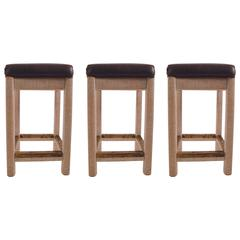 Three Wrapped Twine and Leather Counter Height Stools by Henry Link