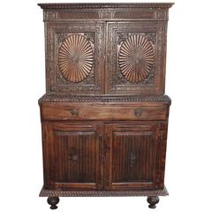 Early 19th Century Hand-Carved Two-Piece Wall Cupboard