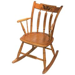 19th Century Original Painted N.E. Windsor Rocking Chair