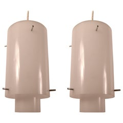 Pair of Acrylic Hanging Fixtures by Paul Mayen