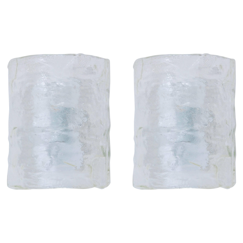 Pair of Mazzega Glass Sconces