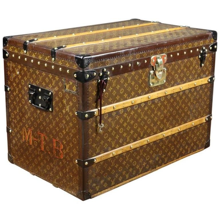 Lv Trunk Coffee Table: 1930s Louis Vuitton Stencil Monogram Steamer Trunk And Key
