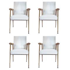 Jules et André Leleu, Set of Four Chairs, Leather, Silk and Gifted Brass