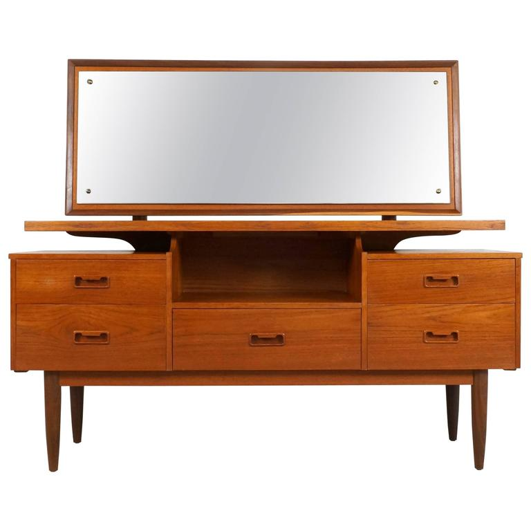 Danish Modern Teak Vanity or Dressing Table with Mirror, 1960s For Sale