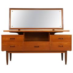 Danish Modern Teak Vanity or Dressing Table with Mirror, 1960s