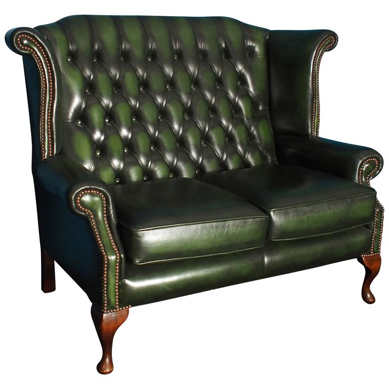 Two Seat Leather Wingback Chesterfield Sofa Antique Green 1980s At 1stdibs