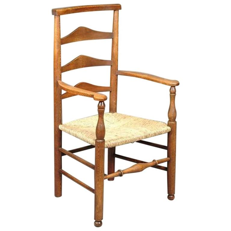 Arts and Crafts Oak Ladder Back Armchair, Attributed to C R Ashbee For Sale