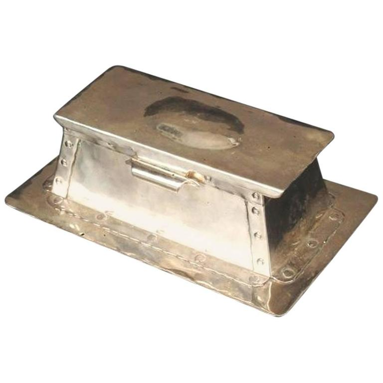 Arts and Crafts Hammered Electro-Plated Double Inkstand, by a J Seward For Sale