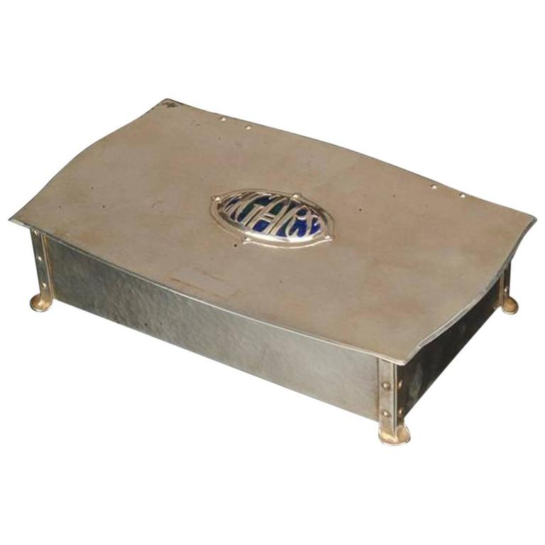 Arts and Crafts Electro-Plated and Enamelled Cigar Box For Sale