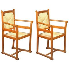 Pair of Arts and Crafts Oak Elbow Chairs, in the Manner of George Walton