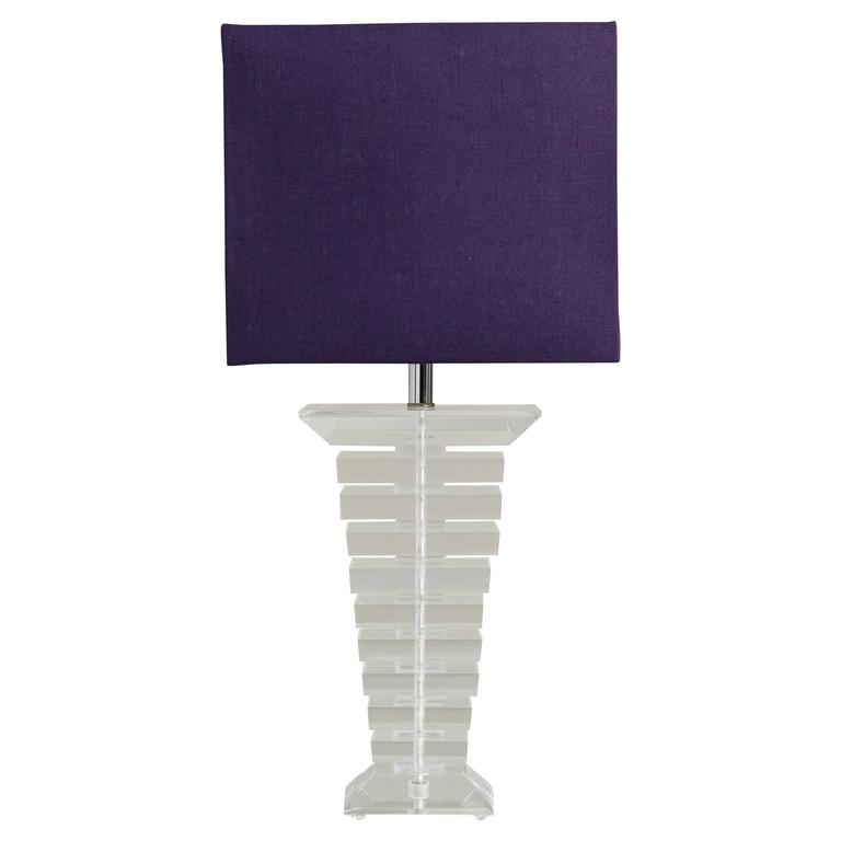 Large Stacked Lucite Table Lamp, 1970s