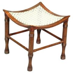 Liberty and Co. Stained Beech Dish Shaped Thebes Stool with Ring Turned Legs