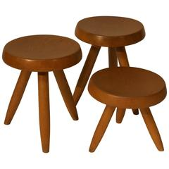 Charlotte Perriand, Set of Three Stools, circa 1950
