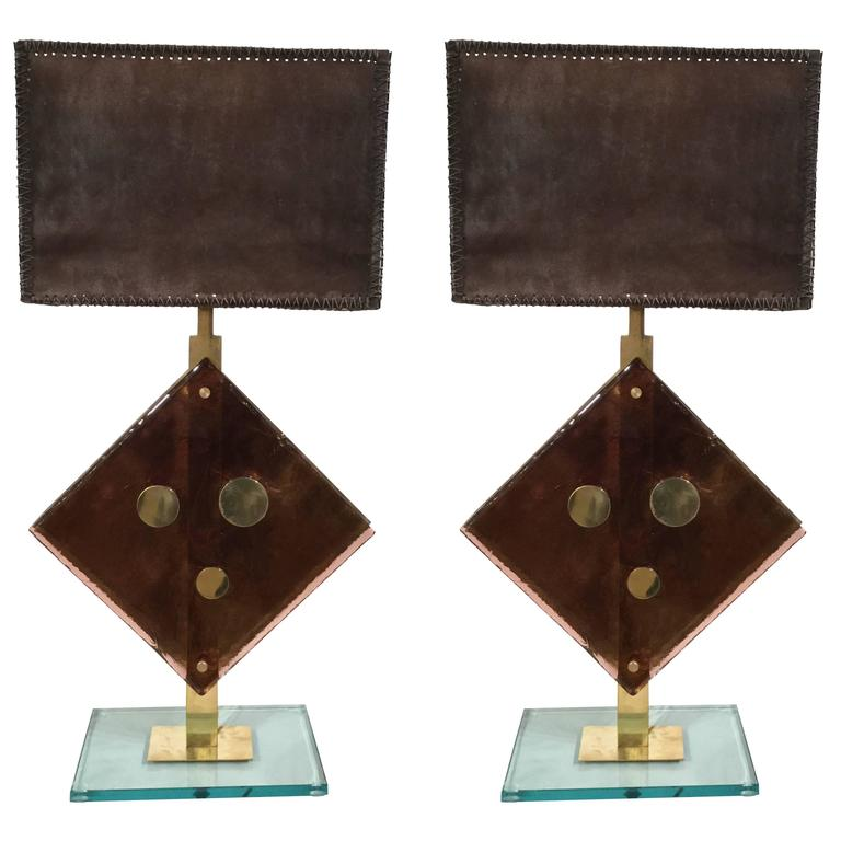 Pair of Murano Glass Table Lamps by Salviati, circa 1960