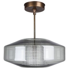 Orrefors Mid-Century Glass and Brass Saucer Pendant, circa 1960