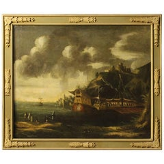 18th Century Italian Seascape Painting Oil On Canvas