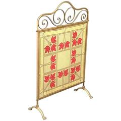 An Arts and Crafts Brass and Tapestry Fire Screen, in the Manner of Was Benson