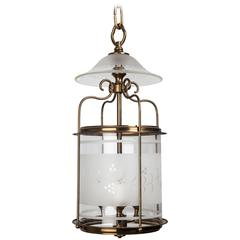 Etched Glass and Brass Lantern, circa 1930