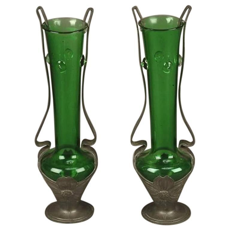 Pair of Art Nouveau Pewter and Green Glass Twin-Handled Vases, by Osiris