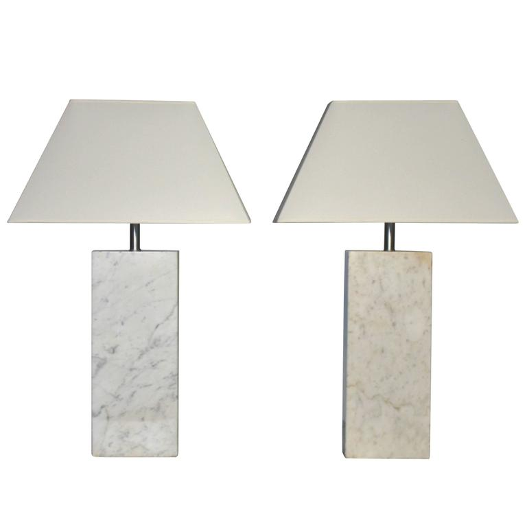 Pair of Marble Lamps by Nessen 1