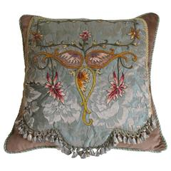 Embroidered Damask Pillow by Mary Jane McCarty