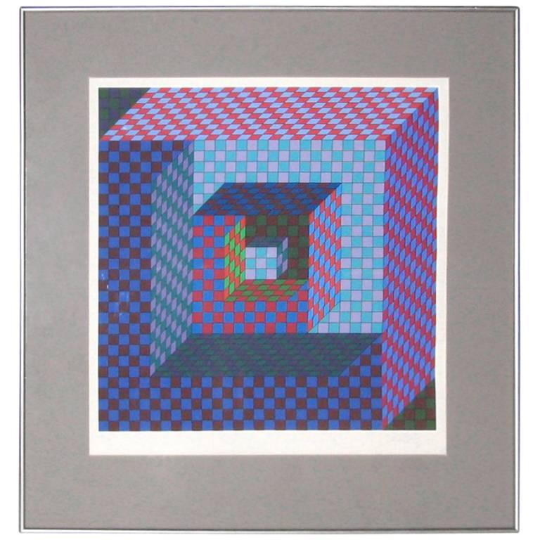 Victor Vasarely Op-Art Screenprint, Signed For Sale