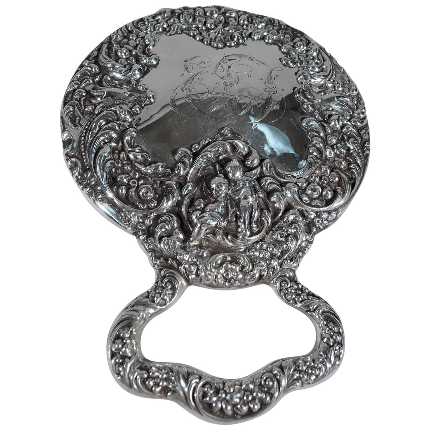 Art nouveau sterling silver mirror by very collectible for Silver mirrors for sale