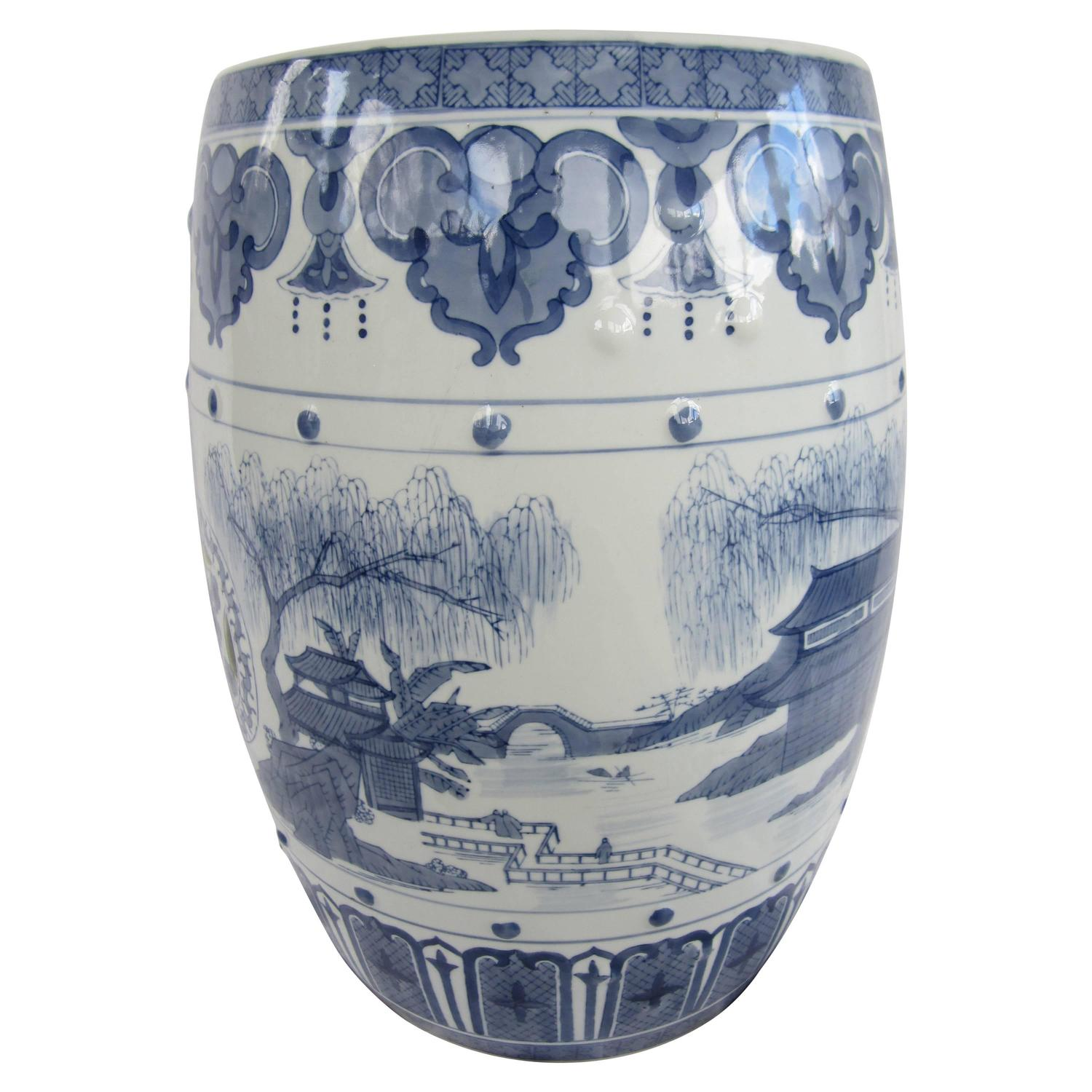 chinese blue and white garden stool for sale at 1stdibs
