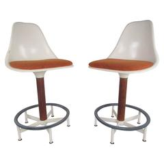 Vintage Pair of Swivel Stools by Burke