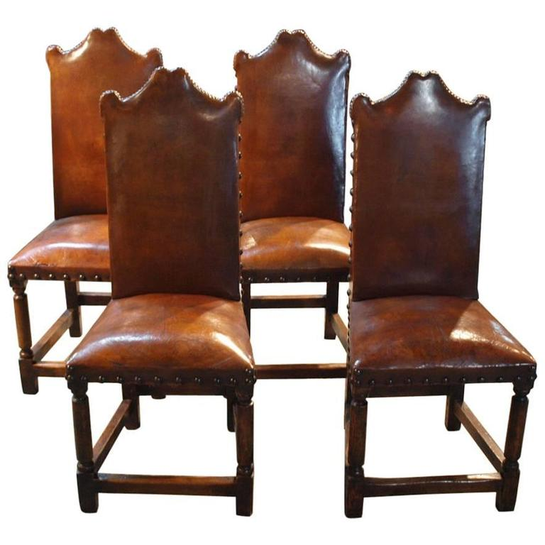 Set Of Four Italian Dining Chairs In Leather At 1stdibs