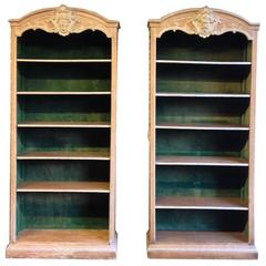 Pair of 19th Century Green Painted Wood Bookcases