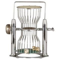 Vintage Oversized Chrome Chuck-A-Luck Birdcage Dice Gambling Game