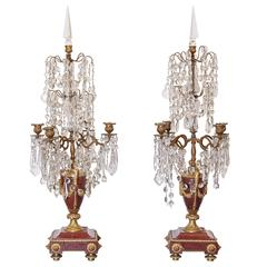 19th Century Pair of Marble and Bronze Four Branch Girandoles