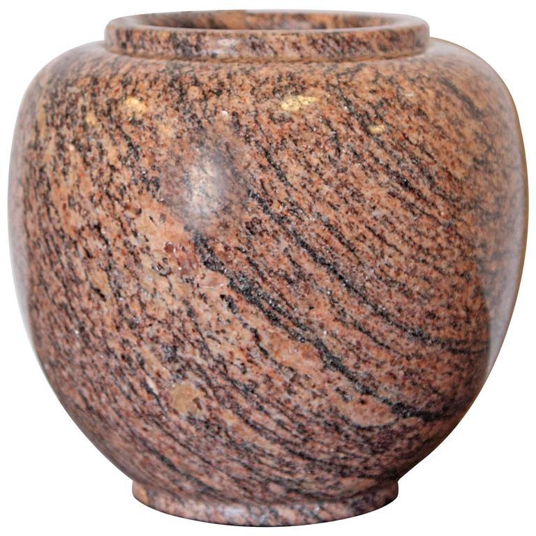 20th Century Polished Granite Vase