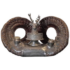 19th Century English Rams Horn Inkwell with Pewter Mounts