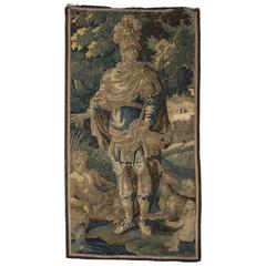 Early18th Century Vertical Flemish Tapestry with Verdure and Mythology Scenery