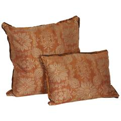 Pair of Vintage Fortuny Fabric Cushions in the Impero Pattern