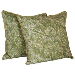 Pair of Vintage Fortuny Fabric Cushions in the Demedici Pattern