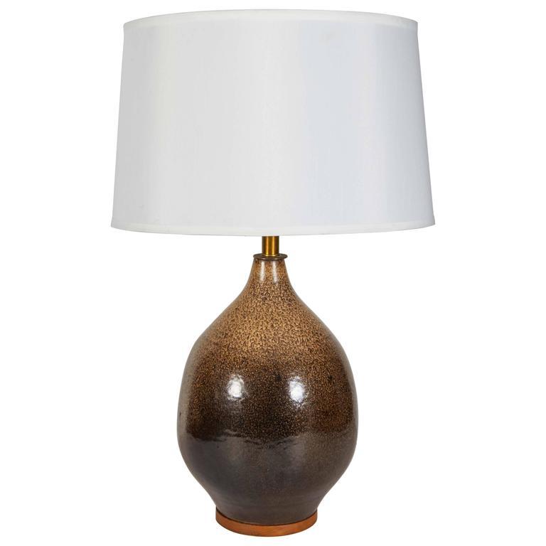 Swedish 1950s drip glaze brown ceramic table lamp at 1stdibs swedish 1950s drip glaze brown ceramic table lamp for sale aloadofball Choice Image