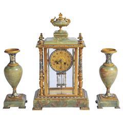 19th Century French Onyx, Champleve Enamel Clock Set